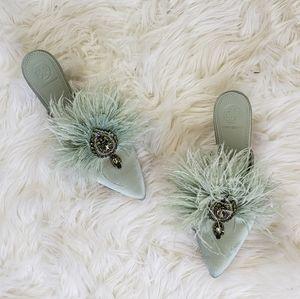 Tory Burch Elodie Embellished Feather Heel Mule